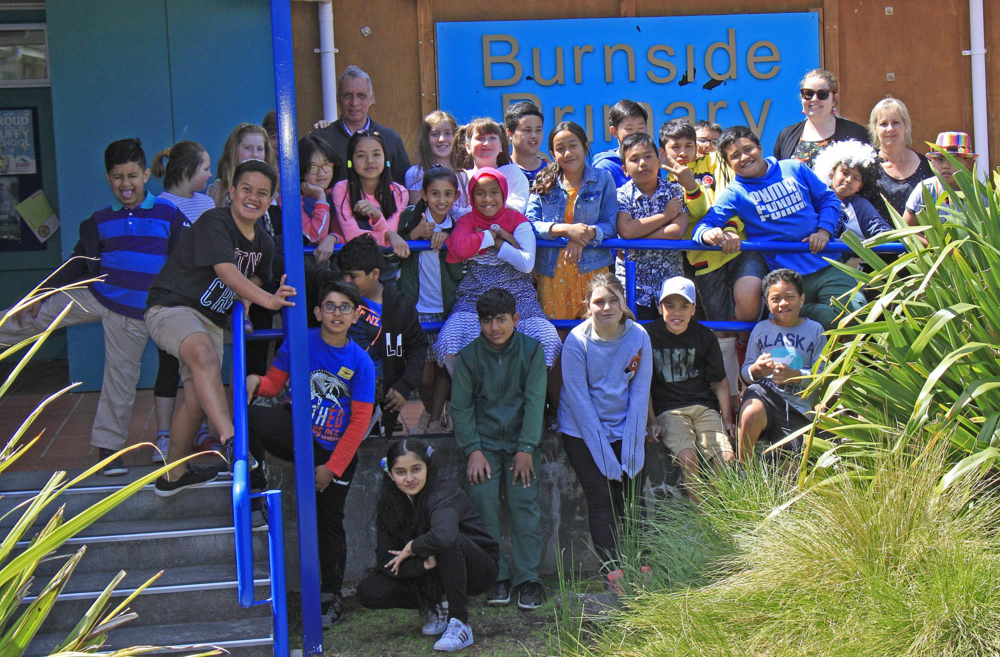 Images of schoolchildren from Burnside Primary School in Christchurch.